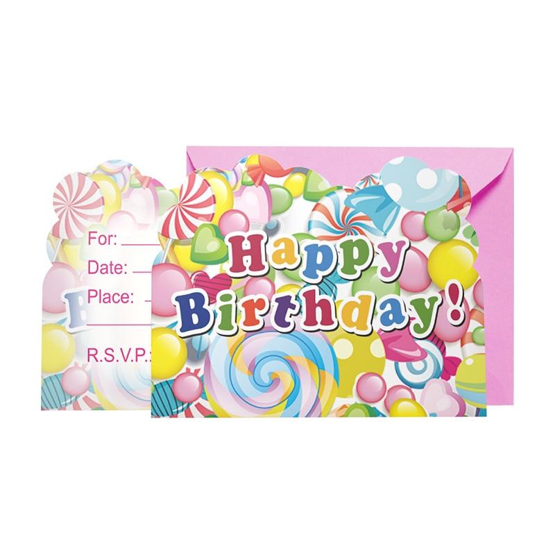 6pcs/lot New arrived cute Birthday Cartoon Invitation Card ...