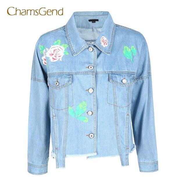 0ddfa493b326e Chamsgend Mujeres Light Blue Denim Jeans Chaqueta de Estampado de Flores de Manga  Larga Bolsillo Flojo