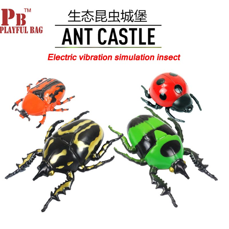 2018 Simulation Vibration Insect Ladybug Beetle Green Insect Electric Vibration Simulation Insect Electronic Pet Children's Toys