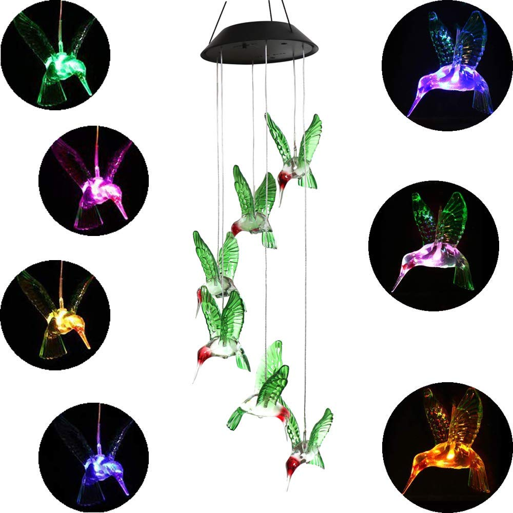 Color Changing LED Solar Power Lamp Hummingbird Wind Chimes Garden Decoration Yard Waterproof LED Light Lighting Hanging Decor