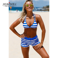 SEBOWEL 2017 Sexy Female Striped Swimsuit With Short Bikini Set Push Up Bra With Shorts Women