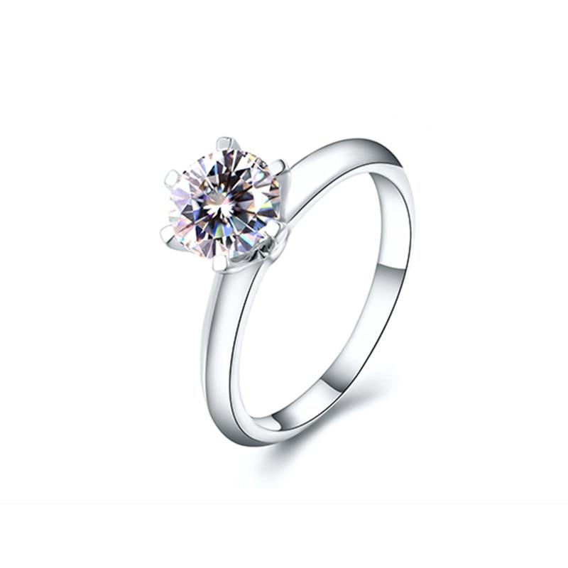 Classic 14K White Gold 1ct 2ct 3ct Moissanite Diamond Ring jewelry Trendy Wedding Party Engagemen Anniversary Ring