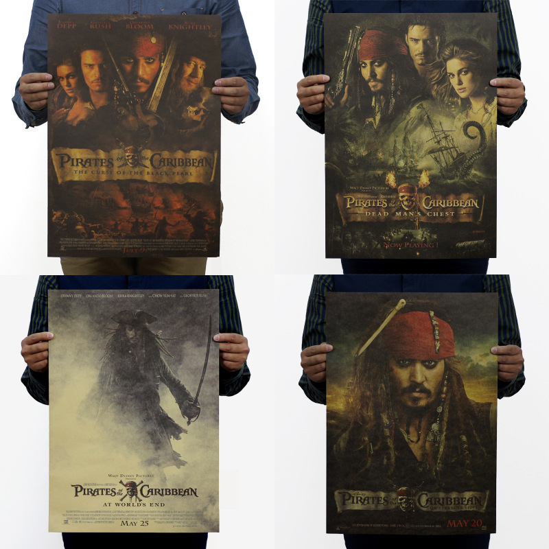 Pirates of the Caribbean /Jack sparrow/classic film movie/kraft paper/bar poster/Retro Poster/decorative painting 51x35.5cm