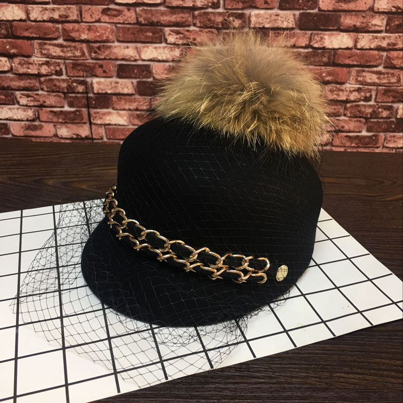 Europe and the United States New Korean fleece hats double chain large raccoon fur ball lace tide Baseball Cap Hat female men hat europe and the united states fashion leather simple autumn and winter wild baseball cap out fashion hot sale
