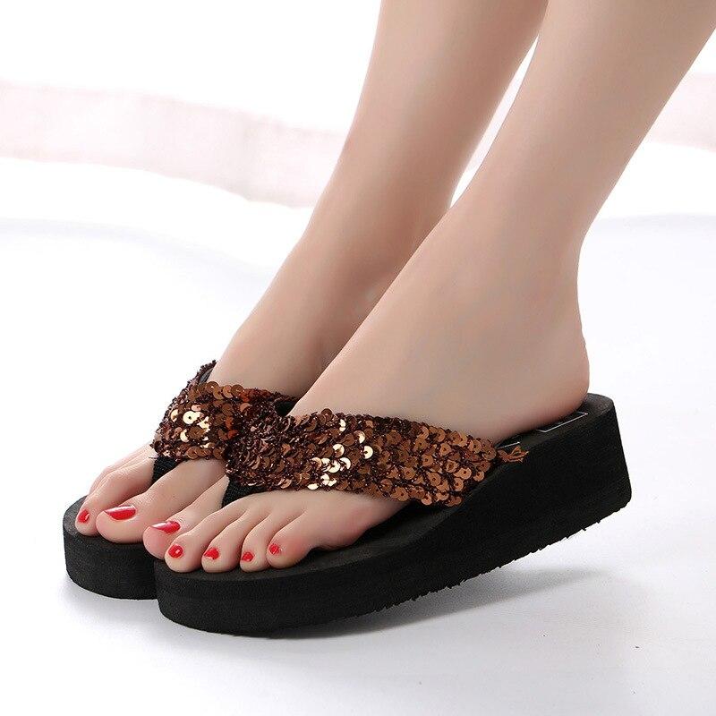 50f211ca9588e9 KESMALL Summer Non Slip Bling Sandals Female Slippers For Women Flip Flop  Sandals Platform Indoor Flip Flops Sandals WS86-in Slippers from Shoes on  ...