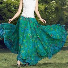Сделанная на заказ летняя стильная Высококачественная винтажная шифоновая юбка с принтом женская летняя юбка с высокой талией размера плюс зеленая юбка макси