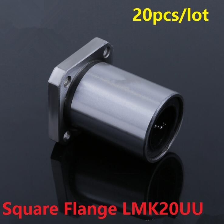 20pcs/lot LMK20UU 20mm Square Flange linear motion ball bearings LMK20 20x32x42mm