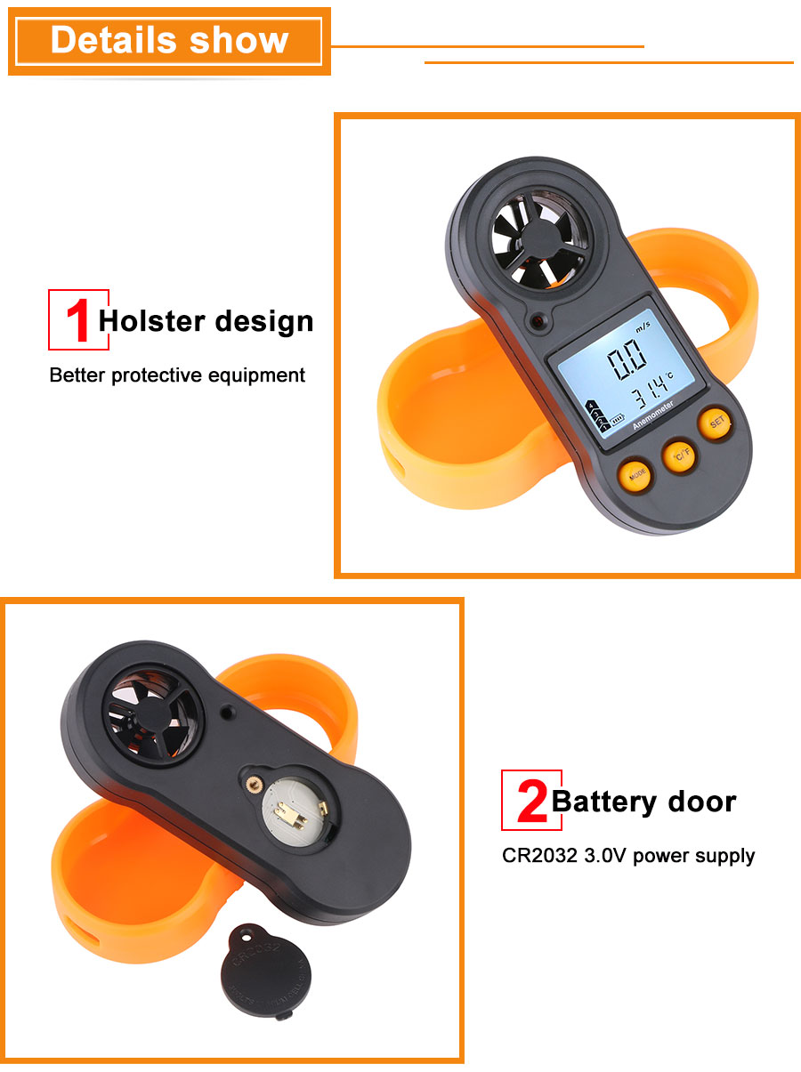 Portable RZ GM816 Wind Speed Meter Used as Anemometer with LCD Display Useful for Windsurfing 9