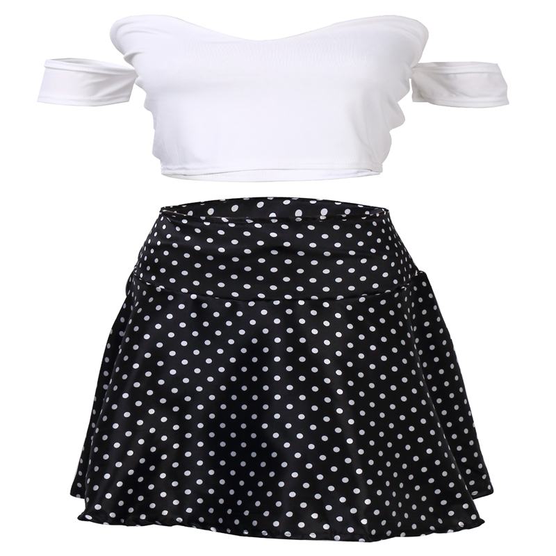2020 Summer Cotton polka dot skirt female casual white dots in the Mid waisted pleated short skirt beach