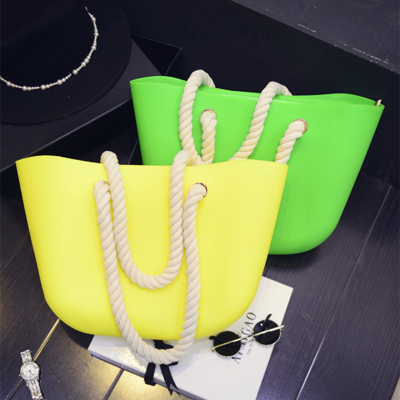 New Women's Beach Bag Waterproof Handbag Candy Color Silicone Jelly Zipper Fashion Shoulder Big Bag Waterproof Beach Bag NB246