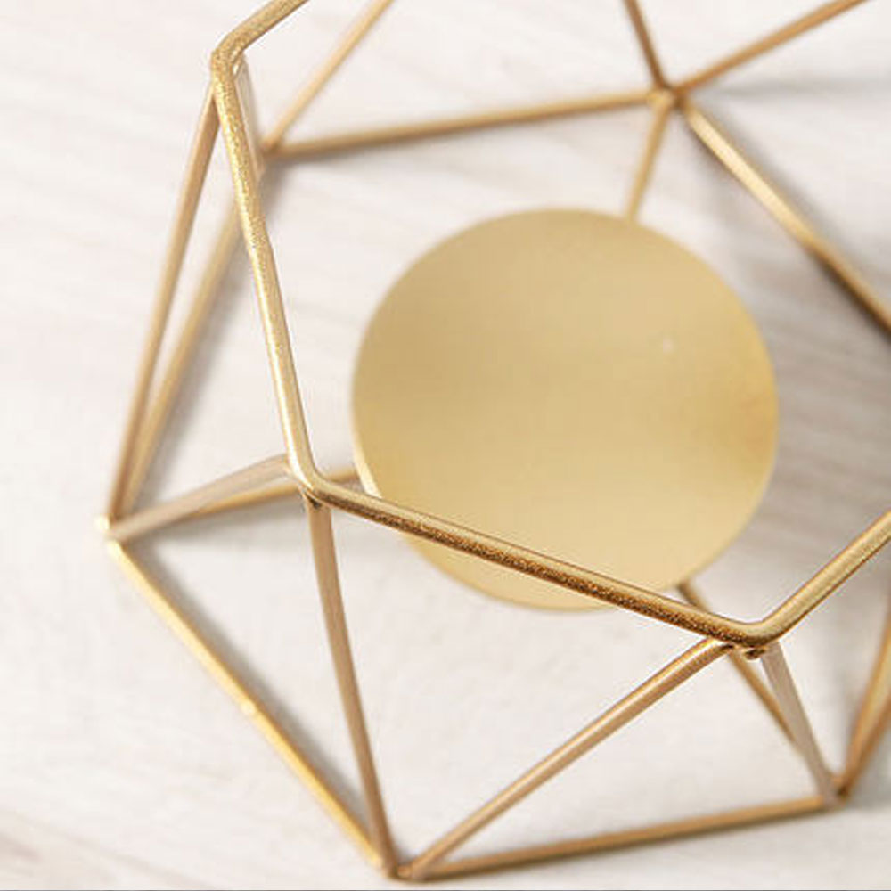 Visual Touch Gold Metal Candle Holders Dinner Table Desk Props ...