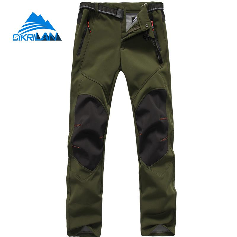 Winter Mens Warm Fishing Trekking Windstopper Softshell Outdoor Climbing Hiking Pants Men Sport Fleece Lining Camping Trousers