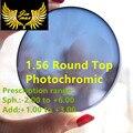 1.56 presbicia miopía bifocales fotosensibles lentes CR39 receta round top calidad protección uv400 lente