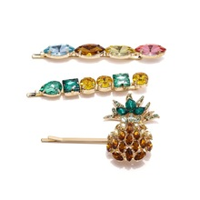 Summer New ZA Cute Fruit Pineapple Hair Clip Pins Women Girls Baby Crystal Barrettes Wedding Bridal Jewelry Accessories M21