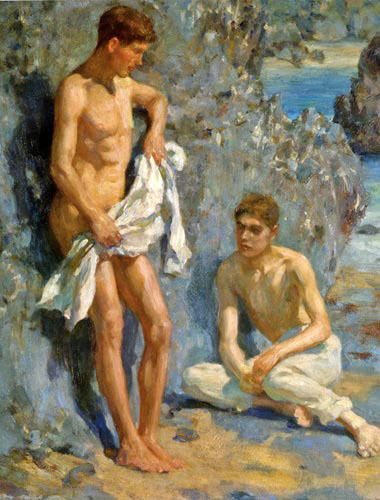 GAY Oil painting Henry Scott Tuke nude young boys after bathing by beach view