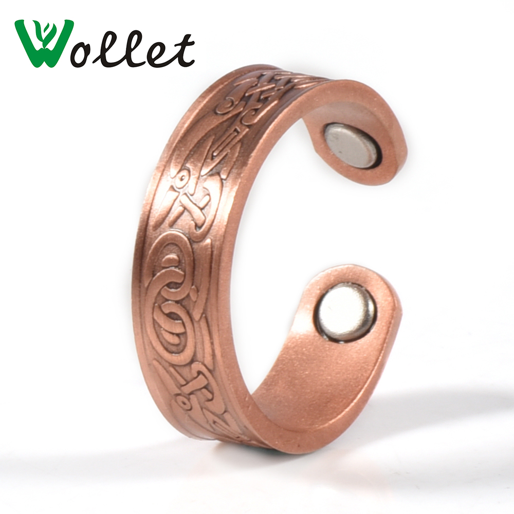 Wollet Jewelry Healthy Magnetic Red Copper Ring for Arthritis Men Women Silver Adjustable