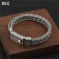 100% реальные s925 серебро модная плетеная ткань Шпагат цветок с вьющимся стеблем браслет мужской тайский серебряный браслет