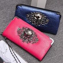 2018 кошелек женский клатч портмоне для женщин pu кожаный бумажник Длинные молнии закрываемые кошельки череп цветок дизайн леди кошельки