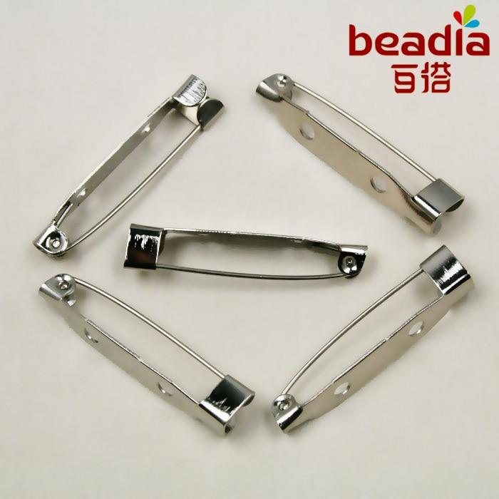 Бесплатная доставка 100 шт./лот родием Брошь контакты застежки для ювелирных изделий 30 мм для DIY CN-FZC004-69