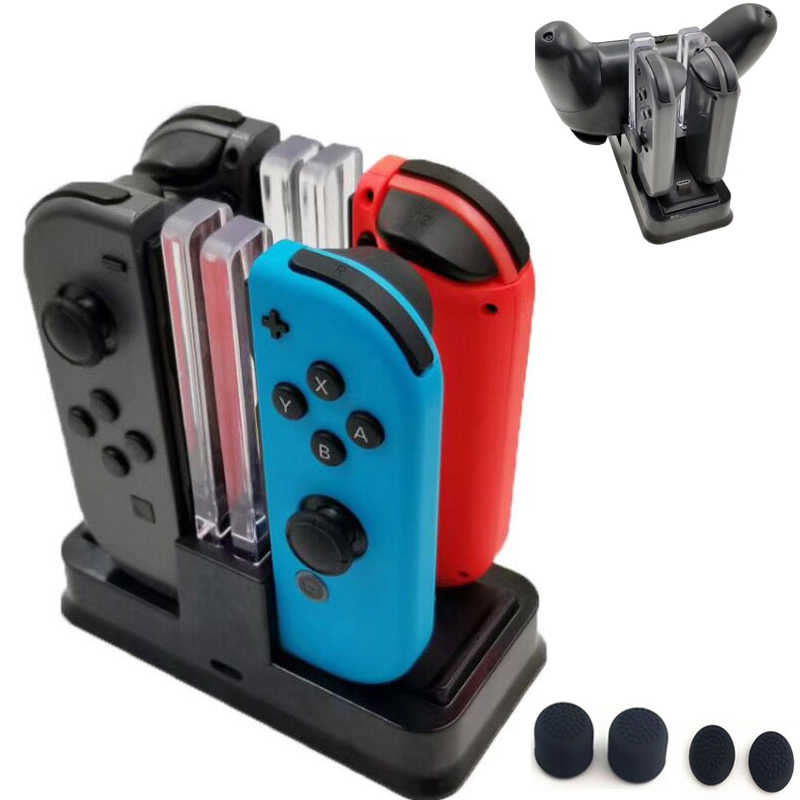 Nintend Swith Pro Controller Charger Berdiri dan Nintend Switch Joycon Pengisian Dock Station dengan LED Light untuk Nintendos Switch