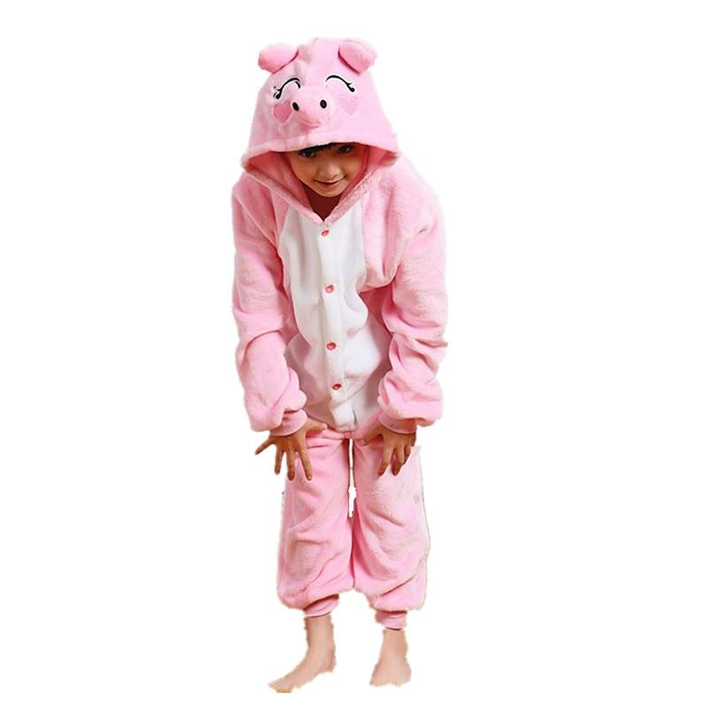 Dětské růžové prase Flanel Kigurumi Kids Onesie pyžamo Cosplay kostým pro Halloween Karneval New Year Party
