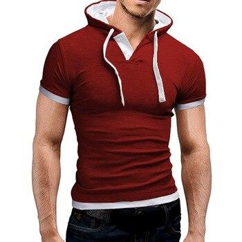 LASPERAL Men'S Hooded Sweatshirts Collar Sling Tops Hoodies Men Short Sleeve Slim Male Sweatshirt Large Size 5XL Spring Autumn