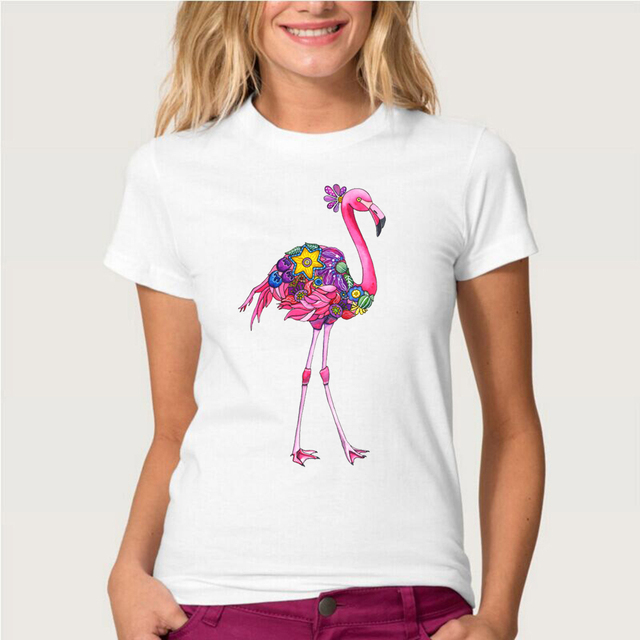 2017 neue sommer fashion damen kurzarm phantasie rosa flamingo t shirt casual tops m dchen. Black Bedroom Furniture Sets. Home Design Ideas