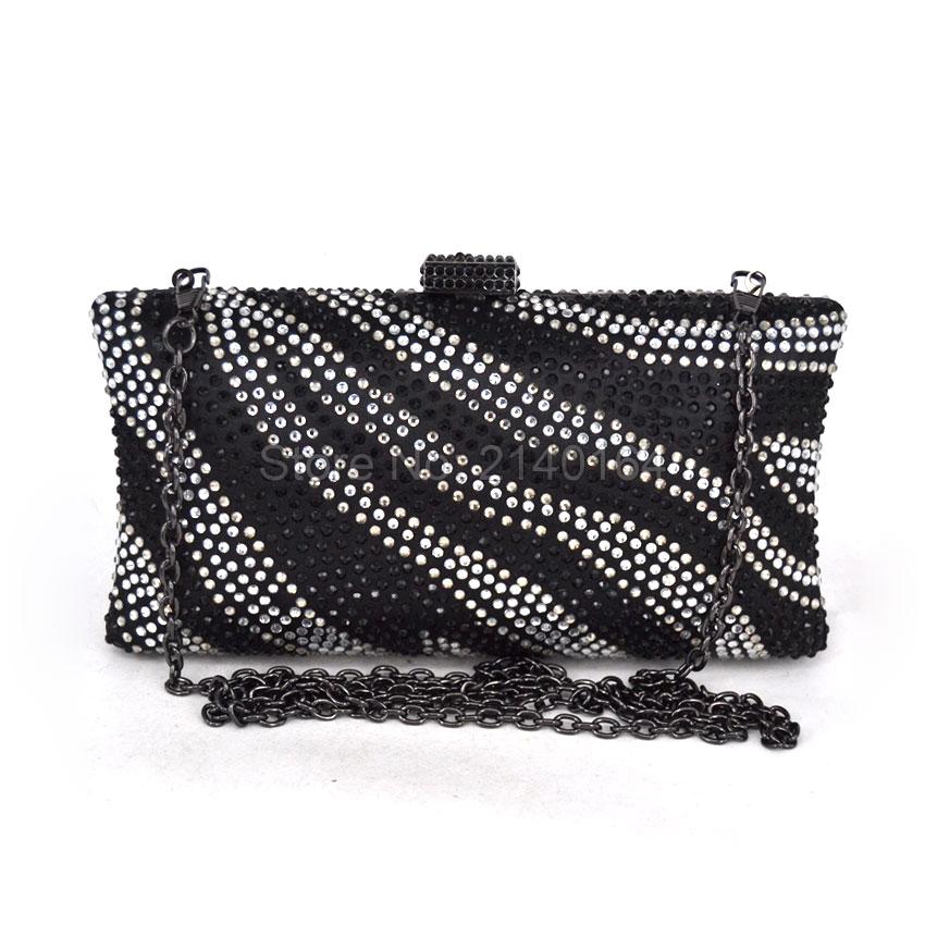 New Shimmering Diamante Ladies Prom Evening Clutch Shoulder Handbag Purse Bag