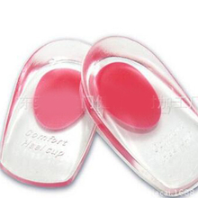2017 Women And Men Heel Pain Spur Silicone Gel Shoes Pads Cushion Heel Cup Insoles Massager Inserts Free Shipping