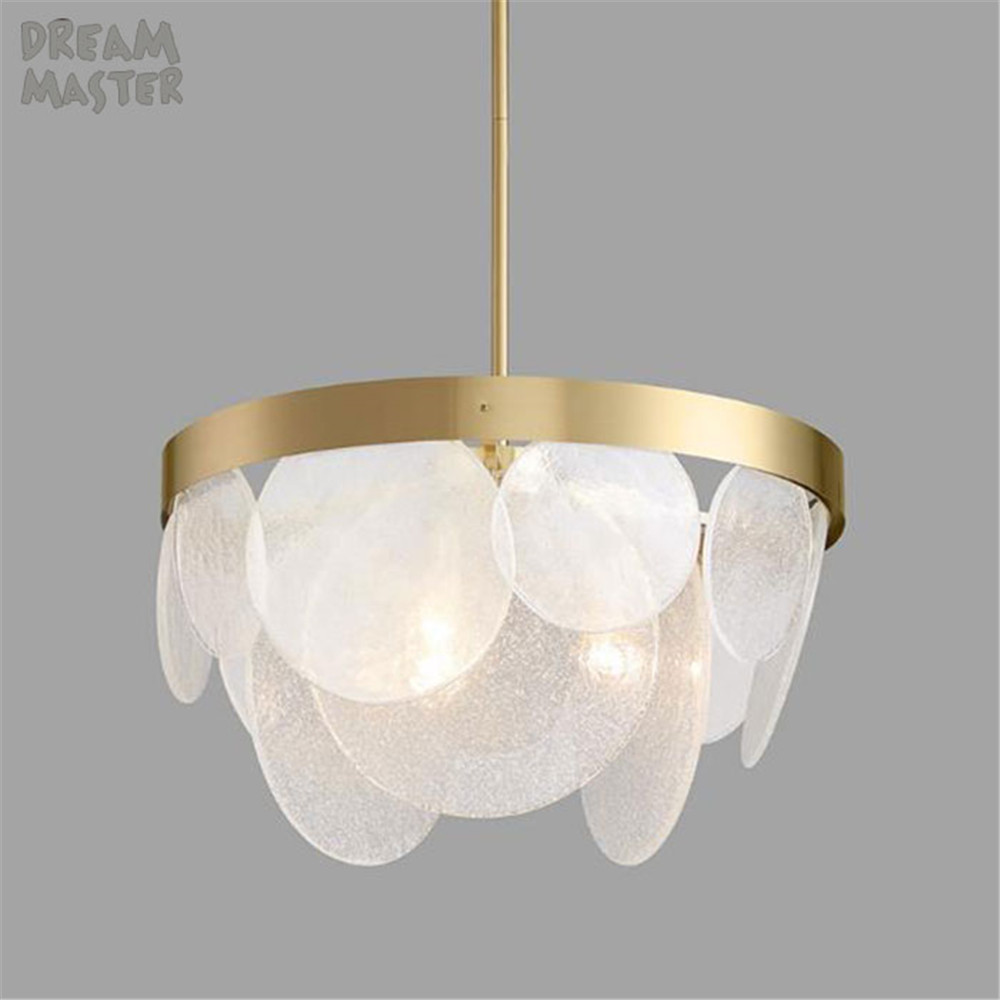 Industrial D60cm hanging glass shade pendant light, Post modern gold ...