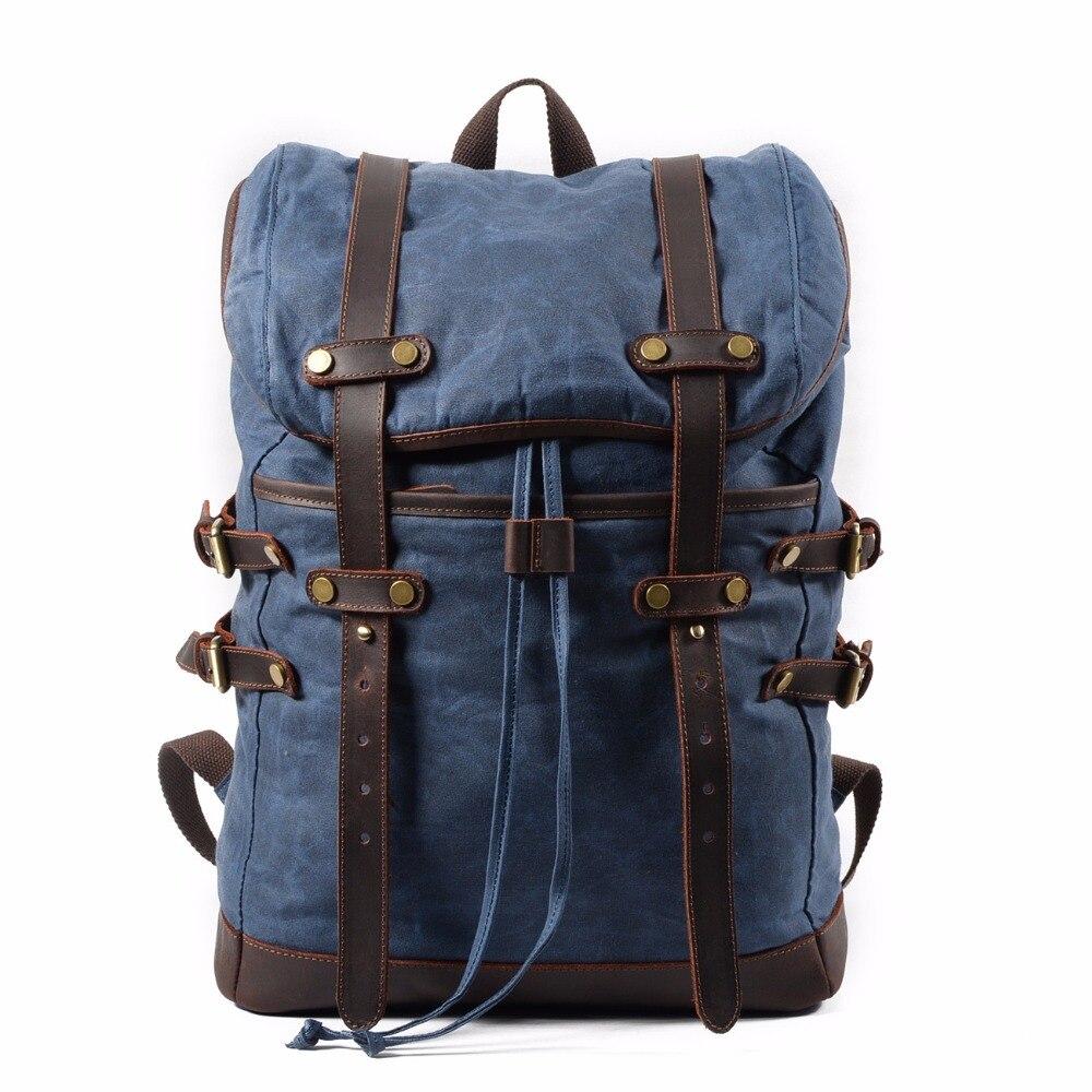 แฟชั่นกระเป๋าเป้สะพายหลังผ้าใบหนังผู้ชายกระเป๋าเป้สะพายหลังทหารกระเป๋าเป้สะพายหลังผู้หญิง Rucksack ชายกระเป๋าเป้สะพายหลัง Bagpack Mochila ใหม่ 2019-ใน กระเป๋าเป้ จาก สัมภาระและกระเป๋า บน   1