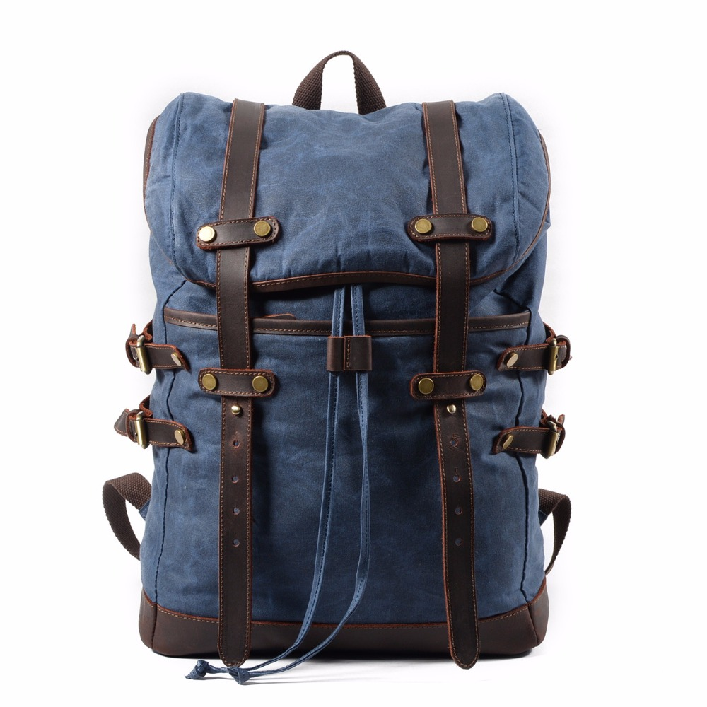 Fashion Backpack Leather Canvas Men Backpack School Bag Military Backpack Women Rucksack Male Knapsack Bagpack Mochila New 2019-in Backpacks from Luggage & Bags    1