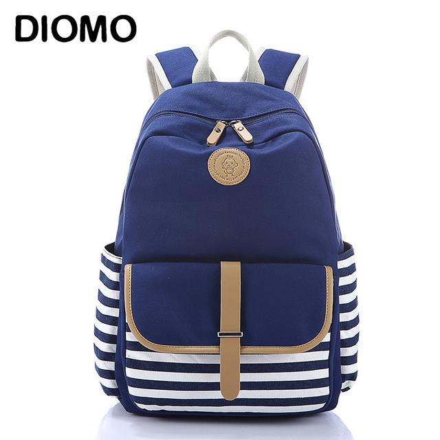 Diomo школьная сумка в полоску холст рюкзак школьный Сумки стильный школьников рюкзак для Обувь для девочек Дорожные сумки