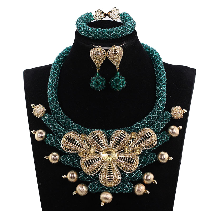 Dubai Gold Jewelry Set Fashion Teal Green Wedding Crystal Bib Pendant Necklace for Women Chunky African Free Shipping ABH684Dubai Gold Jewelry Set Fashion Teal Green Wedding Crystal Bib Pendant Necklace for Women Chunky African Free Shipping ABH684
