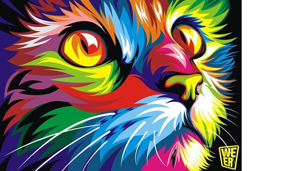 Moderno DIY pintura por números Navidad gato regalo foto inicio ...
