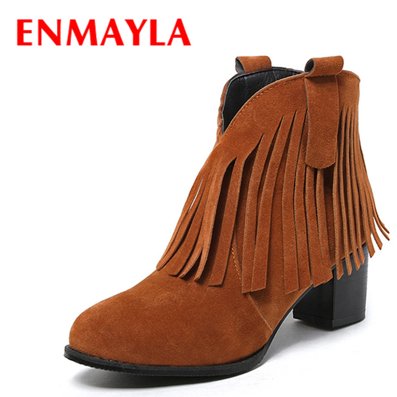 ENMAYLA 2 Style High Heels Ankle Boots Spring Autumn&Winter Warm Boots Shoes Woman Tassels Charns Western Boots Large Size 34-42 enmayla ankle boots for women low heels autumn and winter boots shoes woman large size 34 43 round toe motorcycle boots