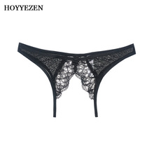 Hoyyezen Women Sexy Lace Briefs underwear Perspective Open Super Thin womens breathable sexy lace panties
