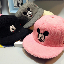 Korean Children Warm Hat Boy Girl Mouse Embroideried Plush Baby Winter Baseball Cap Hat Peaked Cap Unisex Baby Sports Sun Hat