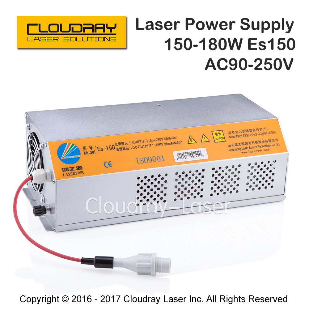 150-180W CO2 Laser Power Supply for CO2 Laser Engraving Cutting Machine HY-Es150 2pcs lot 60w laser power supply psu high voltage flyback hongyuan hy t60 co2 engraving cutting machine ignition coil