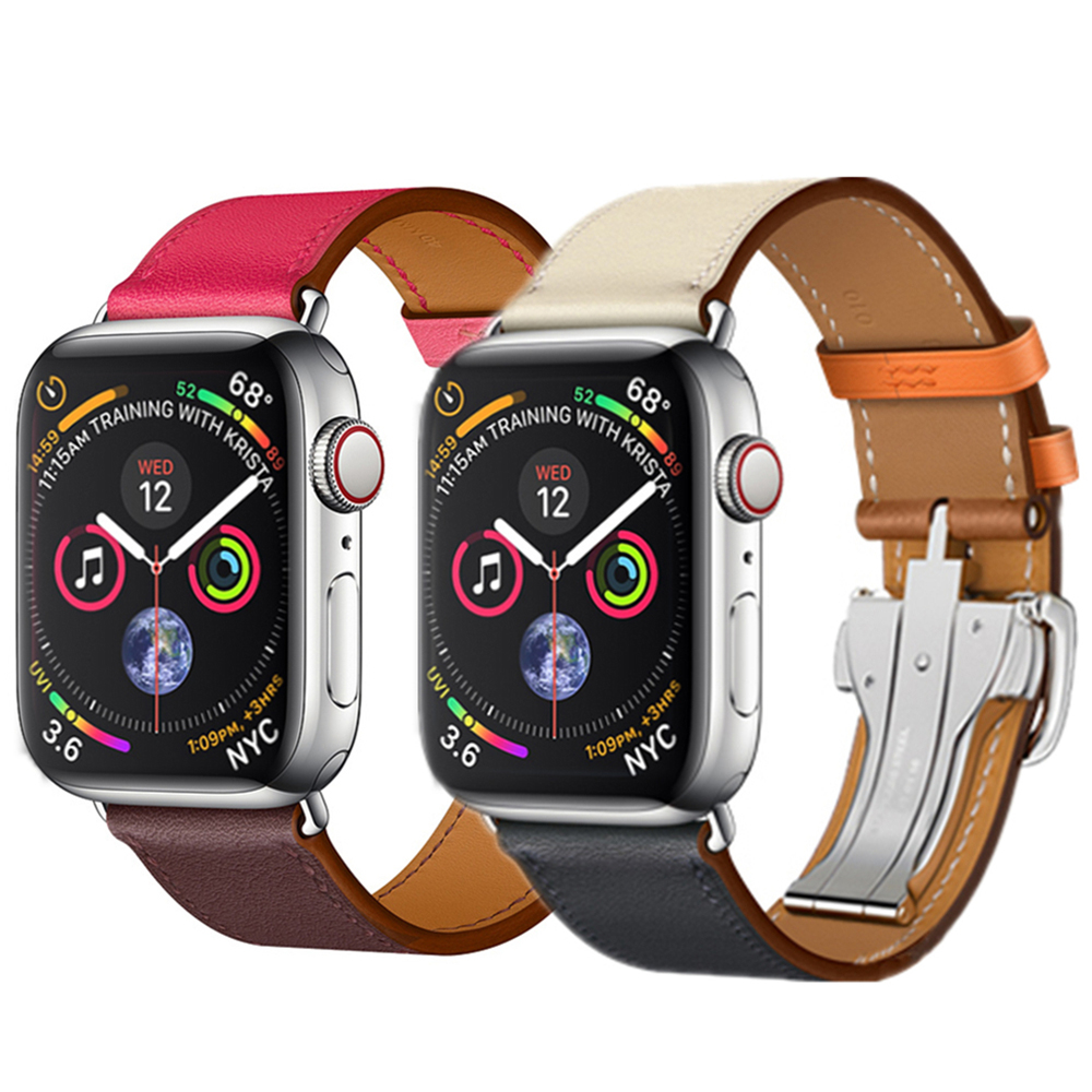 Deployment Buckle strap For <font><b>Apple</b></font> <font><b>watch</b></font> band 4 44mm 40mm Leather watchband for iwatch <font><b>correa</b></font> <font><b>42mm</b></font>/38mm 4/<font><b>3</b></font>/2/1 wrist belt image