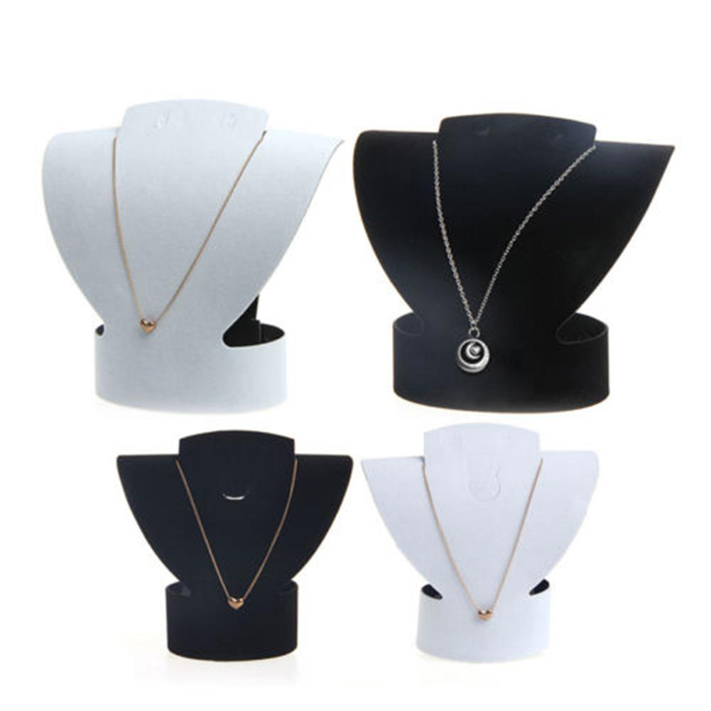 Folding Velvet Jewelry Necklace Bust Earring Display Holder Stand Rack Show Case Jewelry Display Earring Holder Wholesale Hot