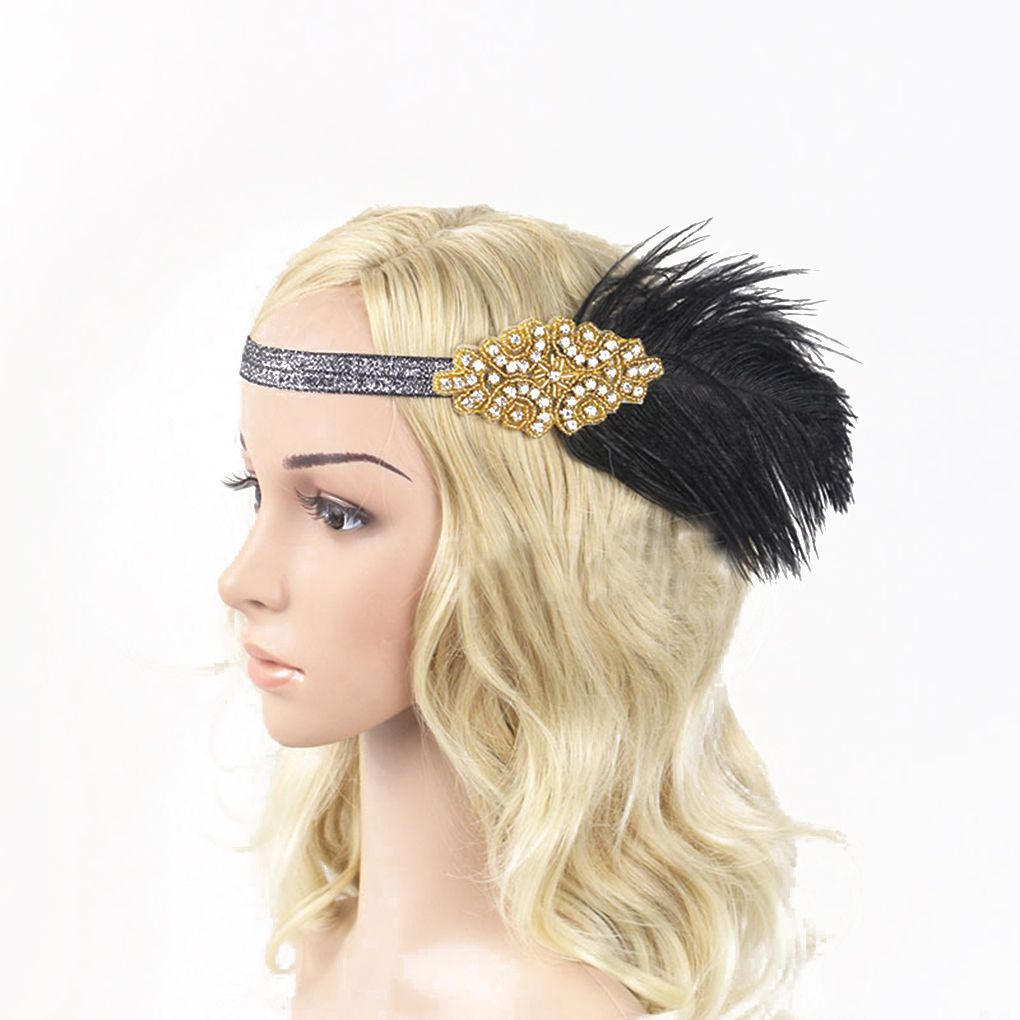 Women Ladies Indian Feather Headband Elastic Rhinestone Headpiece Headwear Hair Decoration for Part Golden headpiece