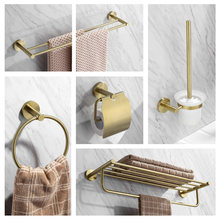 Gebürstet Messing Badezimmer Regal Handtuch Rack Bad Hardware Anhänger Papier Handtuch Rack Wc Pinsel Gold Bathrooom Zubehör Set(China)