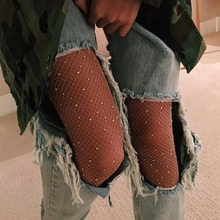 2019 Sexy Women's Diamond Fishnet Tights Mesh Pantyhose Multicolor Rhinestone Nylons Shiny Pantyhose  Hosiery Fish Net hot sexy womens sequins fishnet tights open crotch mesh pantyhose shiny rhinestone club nylons stockings tights hosiery collant