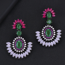Siscathy Luxury Flower Multicolor Cubic Zircon Drop Earrings African Indian Bridal Waterdrop Dangle For Women Wedding