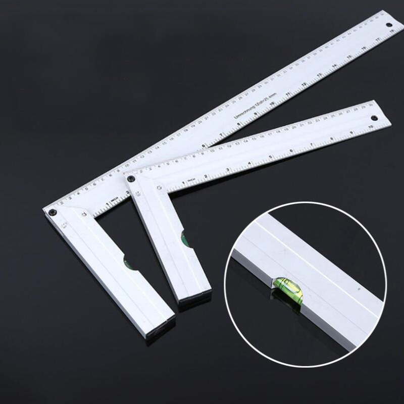 90 Degree Right Angle Ruler Woodworking Corner Ruler 30cm Aluminum Alloy With Horizontal Bubble Square Ruler Protractor
