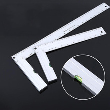 90 degree right angle ruler woodworking corner 30cm aluminum alloy with horizontal bubble square protractor