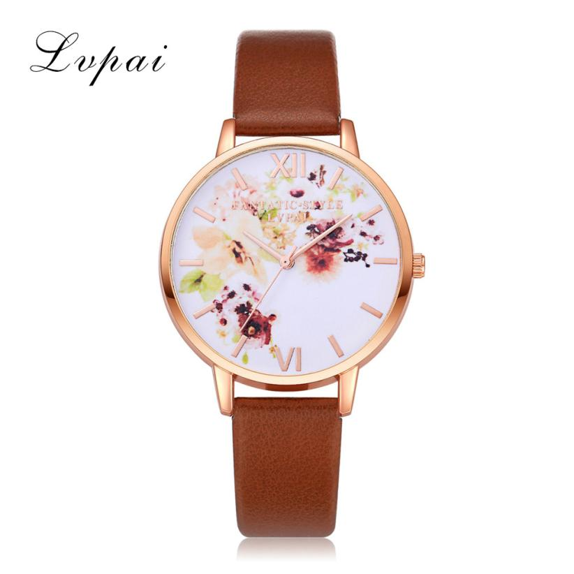 LVPAI Quartz Watch Fashion Leather Strap Watches Women Classic Casual Simple Round Wristwatches 18FEB24 lvpai p411 women trend print casual quartz watch