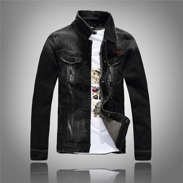 2017 Spring Autumn Black Ripped Denim Jacket Men Slim Fit Jeans