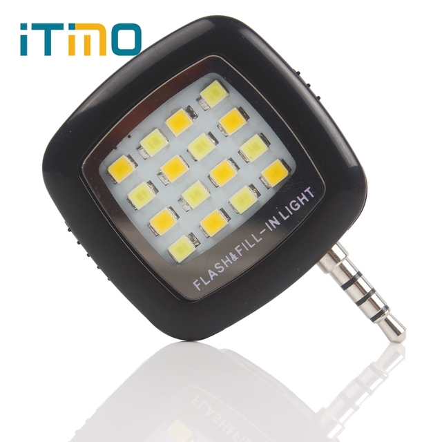 iTimo Rechargeable Mini 3.5mm Portable LED Flash Fill Light For iPhone IOS Android Cell Phone Camera Fill Light 16 Leds